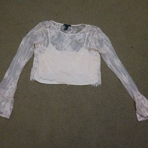 Forever 21 Tops - Long sleeve blush lace crop top